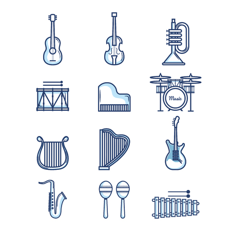 Hand drawn musical instruments over white background vector illustration