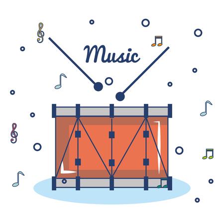 Drum and drumsticks over white background vector illustration Illustration