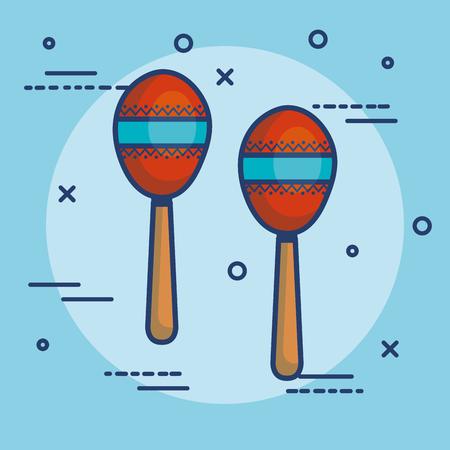 Colorful maracas over blue background vector illustration