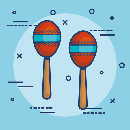 Kleurrijke maracas over blauwe vectorillustratie als achtergrond