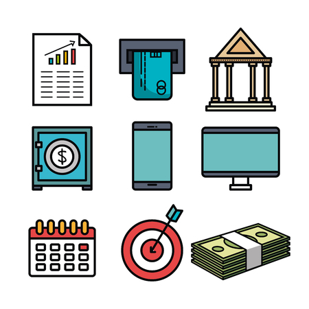 Colorful money related objects over white background vector illustration