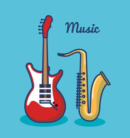 일렉트릭 기타와 색소폰 파란색 배경 벡터 일러스트 레이 션을 통해 스톡 콘텐츠 - 80933662