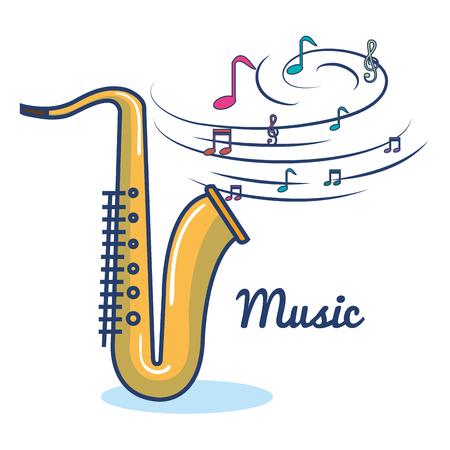 Golden saxo and musical notes over white background vector illustration