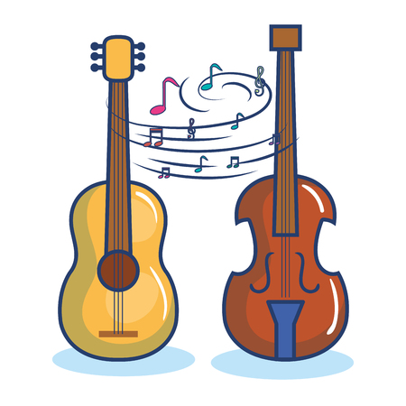 Guitar and violin over white background vector illustration Иллюстрация