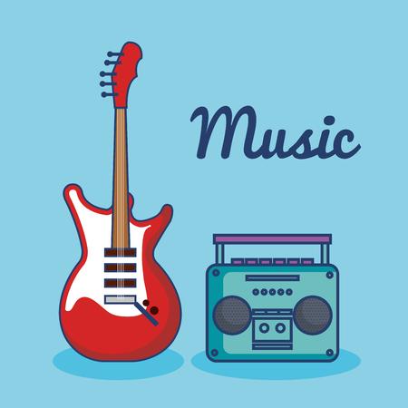 エレクトリック ・ ギターと青い背景上に音楽プレーヤー ベクトル イラスト