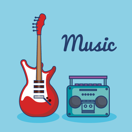Electric guitar and music player over blue background vector illustration