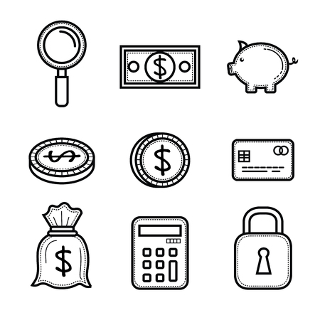 Hand drawn money related objects over white background vector illustration Illustration