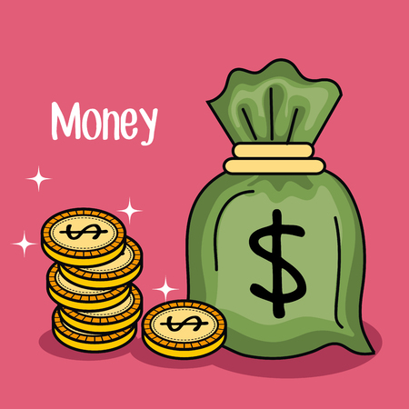 Money bag and coins over fuchsia background vector illustration