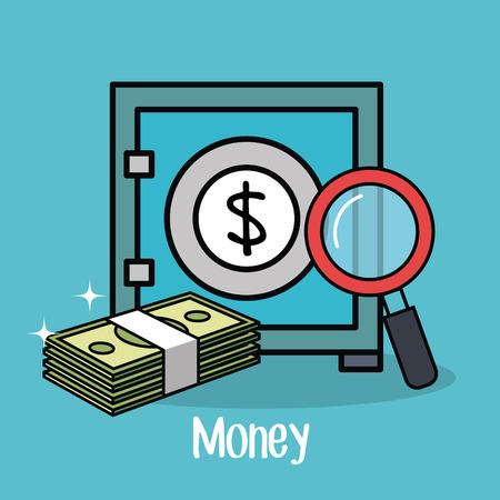 Safe, cash and magnifying glass over teal background vector illustration