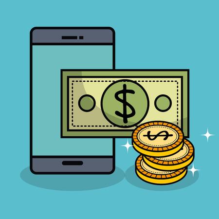 A Smartphone bill and coins over teal background vector illustration. Ilustração