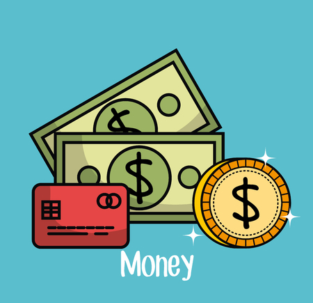 Credit card bills and coin over teal background vector illustration 向量圖像