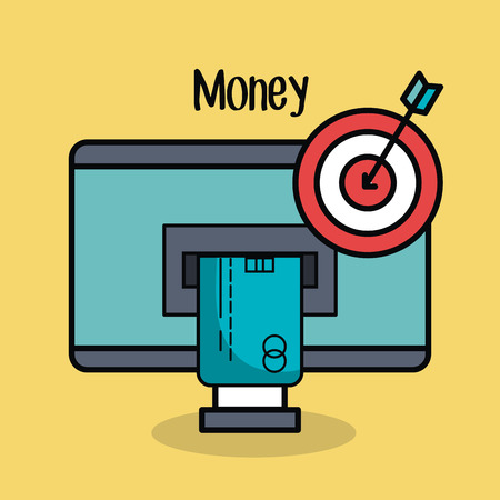 financial item: ATM card slot and target with arrow over yellow background vector illustration