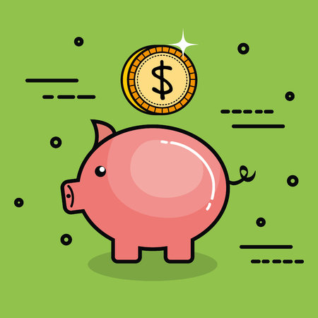 Piggy bank and coin over green background vector illustration Illustration