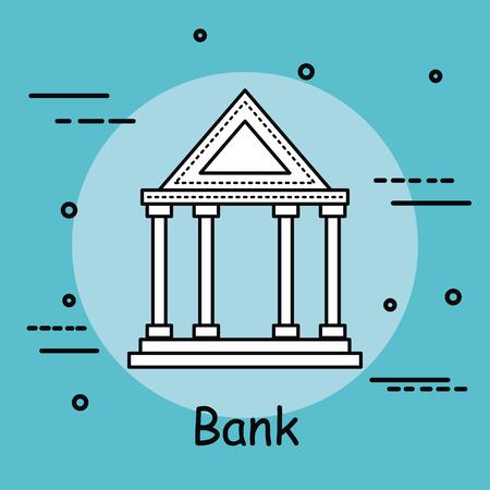 Greek building and bank sign over teal background vector illustration