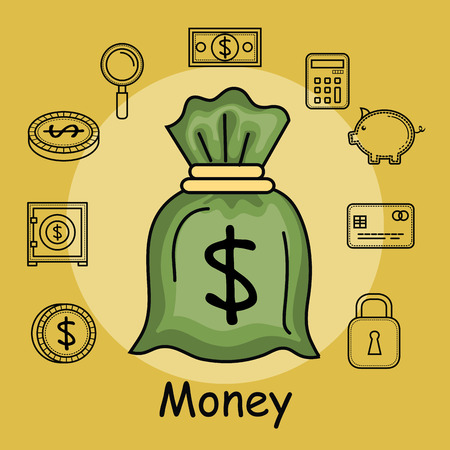 Money bag with hand drawn money related objects over yellow background vector illustration