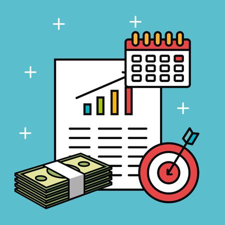 グラフィック入出金カレンダーと青緑背景ベクトル イラスト上のターゲットの紙