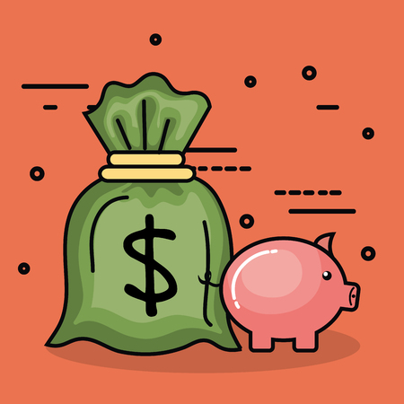 Money bag and piggy bank over peach background vector illustration