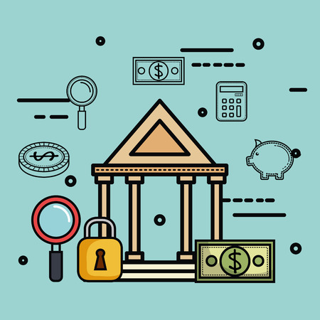 Greek building with money related objects over light background vector illustration