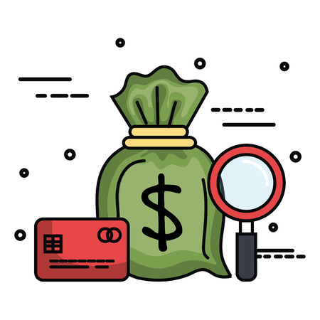 Money bag with credit card and magnifying glass over white background vector illustration