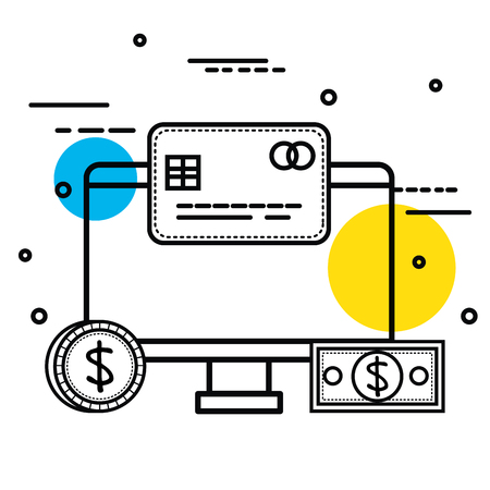 Hand drawn screen with credit card coin and bill over white background vector illustration