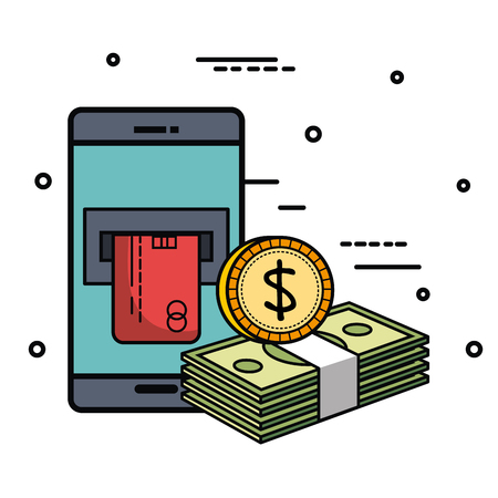 Smartphone with card slot coin and bills over white background vector illustration Illustration