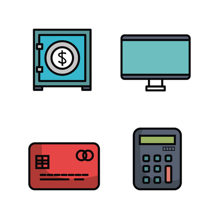 financial item: Colorful money related objects over white background vector illustration