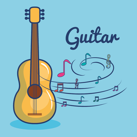 Guitar and musical notes over blue background vector illustration