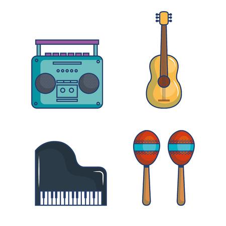 Muzikale verwante voorwerpen over witte vectorillustratie als achtergrond