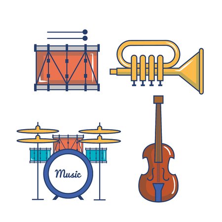 Colorful musical instruments over white background vector illustration Ilustrace