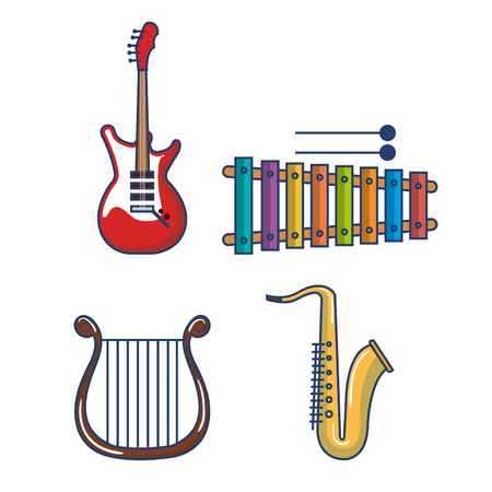 xilofono: Colorful musical instruments over white background vector illustration Vectores
