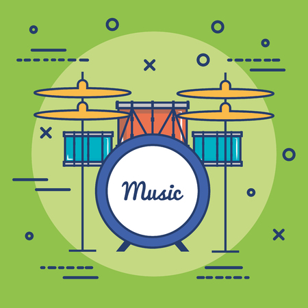 Colorful drums over green background vector illustration