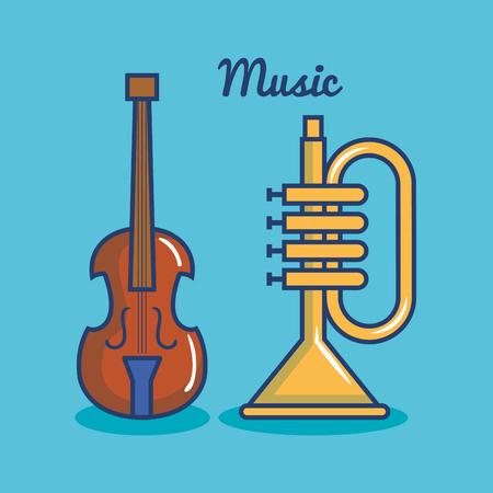 Trompet en viool over blauwe achtergrond vectorillustratie