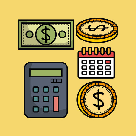 Money related objects over yellow background vector illustration