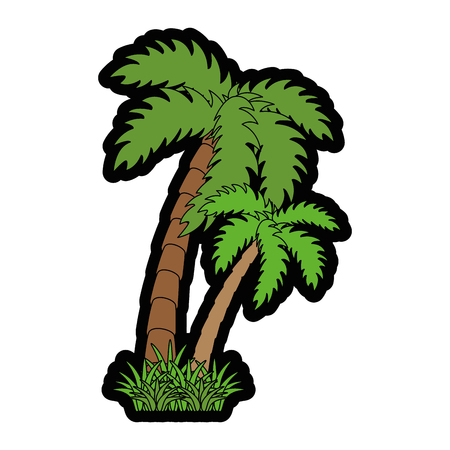 tropical palms icon over white background colorful design vector illustration Illustration