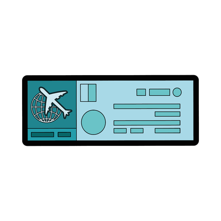 airplane ticket icon over white background colorful design vector illustration