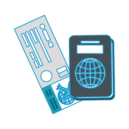 passport and airplane ticket  icon over white  background vector illustration