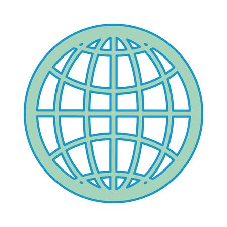 global sphere icon over white background colorful design vector illustration Ilustração