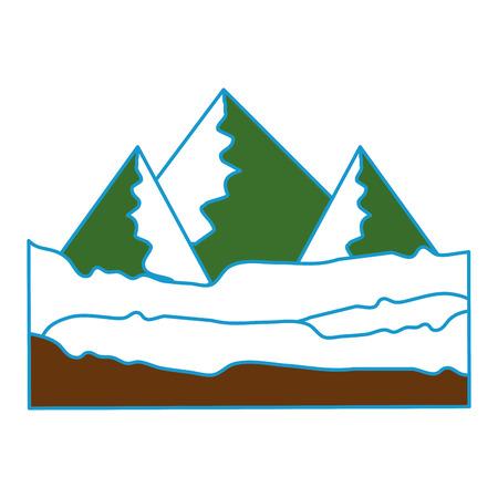 groene bergen pictogram over witte achtergrond kleurrijk ontwerp vectorillustratie
