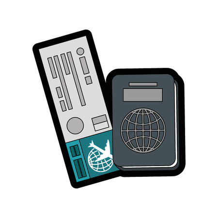 foreign nation: passport and airplane ticket  icon over white  background vector illustration
