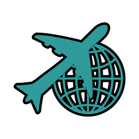 airplane with global sphere icon over white background vector illustration