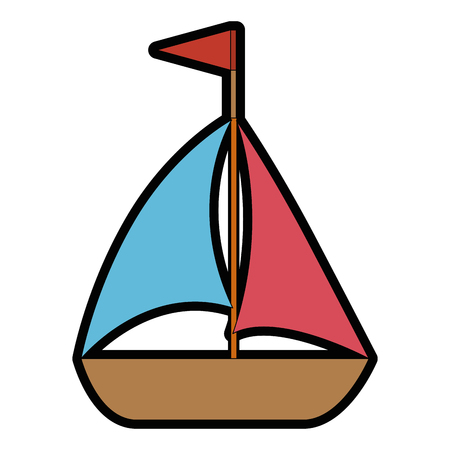 A sailboat icon over white background colorful design vector illustration.