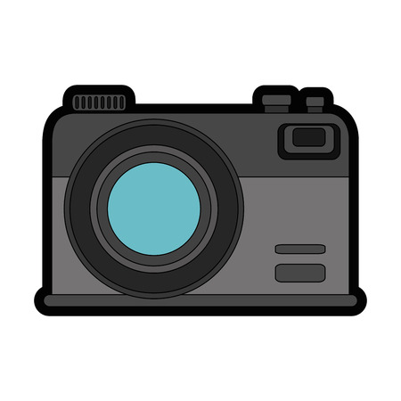 A photographic camera icon over white background vector illustration.