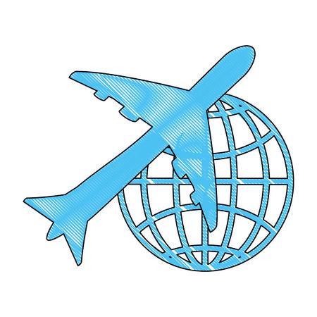 Een vliegtuig met mondiaal bolpictogram over witte vectorillustratie als achtergrond.