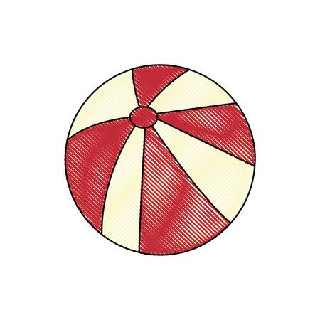 Een strandbalpictogram over witte achtergrond kleurrijke ontwerp vectorillustratie