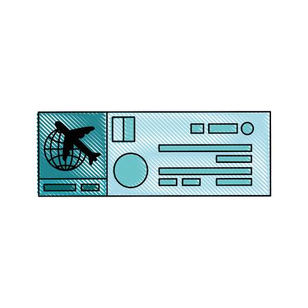 白地カラフルなデザインのベクトル図で飛行機チケットのアイコン