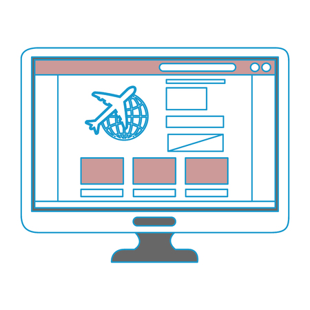 computer icon over white background colorful design vector illustration