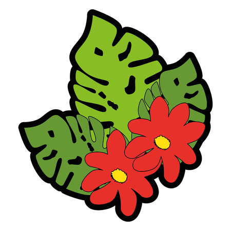 tropical leaves and flowers icon over white background colorful design vector illustration