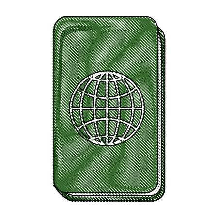 passport icon over white  background vector illustration Illusztráció