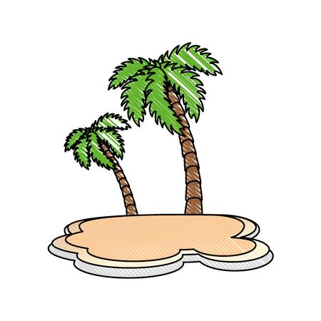 Tropical palm icône sur fond blanc design coloré illustration vectorielle Banque d'images - 80916142