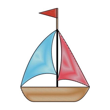 白地カラフルなデザインのベクトル図にヨットのアイコン